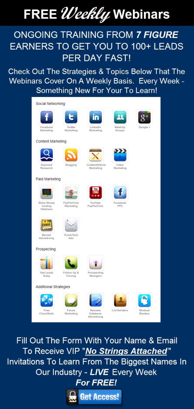 Free Webinars Image Example On MLM Lead Generation Article