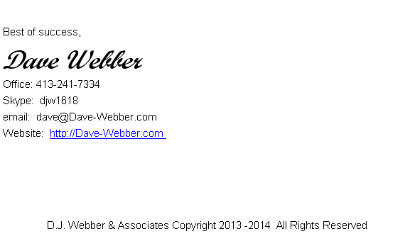 Dave Webber Sig File On How To Start A Blog Free