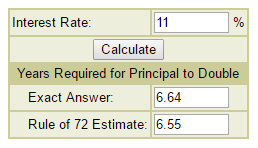 11 Percent Interest On Rule Of 72 Calculator Image